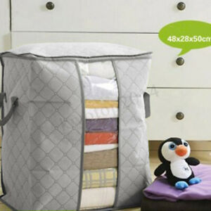 Foldable-Large-Non-woven-Clothes-Quilt-Blanket-Zipper-Storage-Bag-Organizer-Box