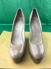 "Christian Louboutin Nude Patent Leather ""Coroclic 140"" Wedge Pumps SZ 39"