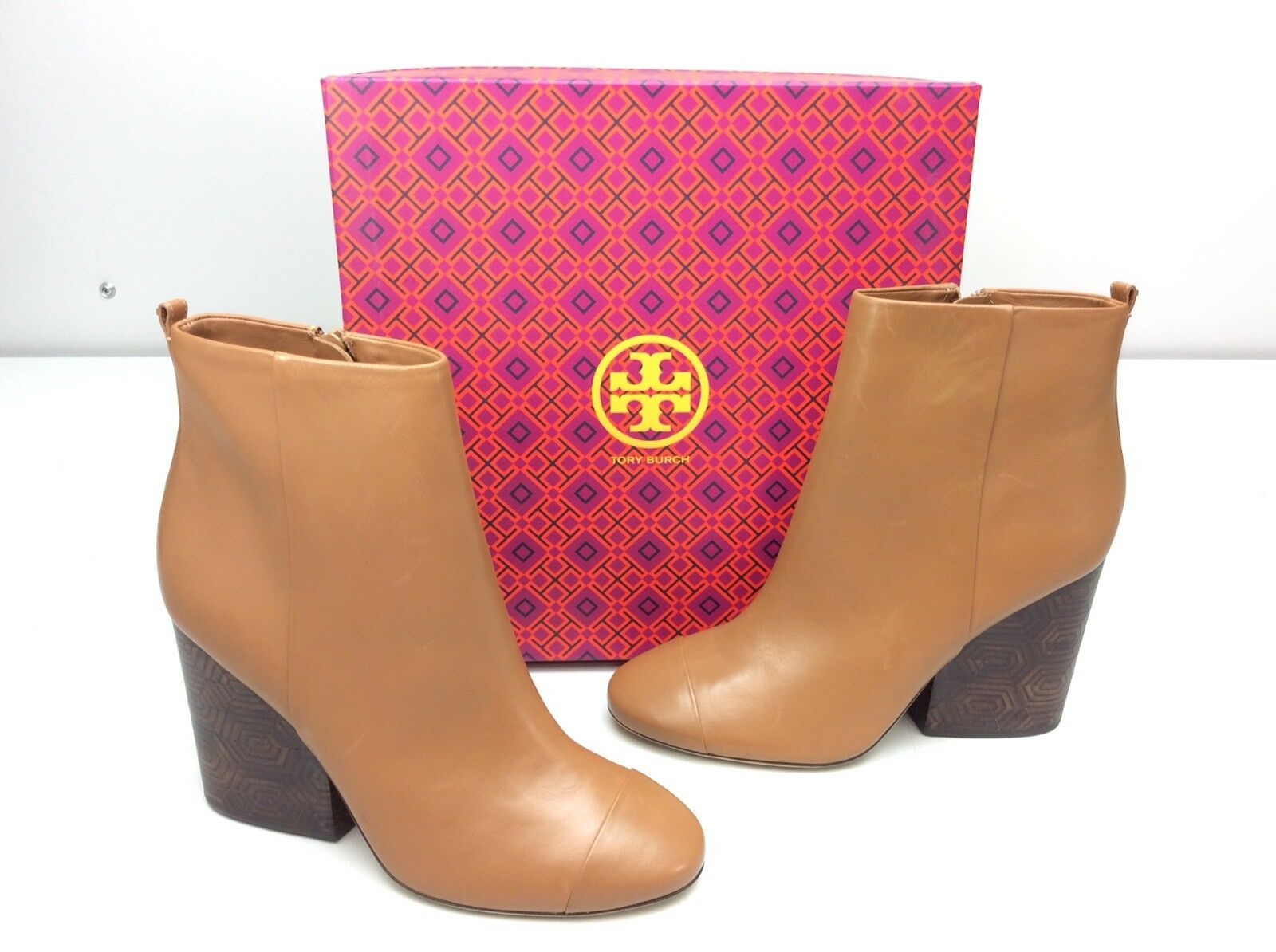 shopping online di moda TORY BURCH Grove 100 MM avvioie stivali Dimensione 10.5 Royal Royal Royal Tan Calf Leather Block Heel  acquista marca