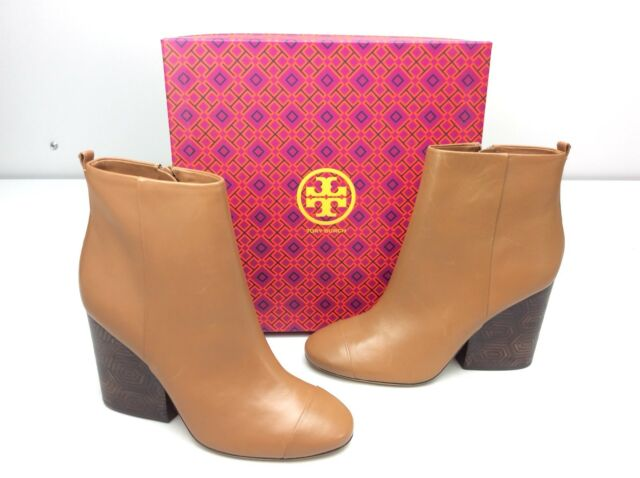 5d860bf9b4e6 TORY BURCH Grove 100 MM Bootie Boots size 10.5 Royal Tan Calf Leather Block  Heel