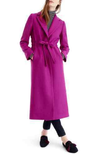 NWT 378  J.Crew Bright Plum Tie Waist DOUBLE SERGE Wool Topcoat Coat G8009 0, 6