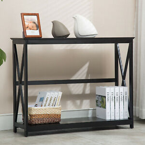 2 Tiers Black Console Table Accent Tables with Storage Shelf Hallway ...