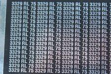 NB plaque immatriculation 3329 RL 75 autocollant voiture DS Majestic Heco