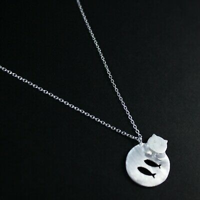 NEW Beautiful Black or White Enamel Cat Necklace UK Seller