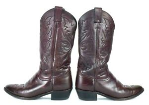 880c92d375e Details about Vtg Justin Black Cherry Leather Cowboy Boots Retro Western  Ranch Work Mens 8.5 D