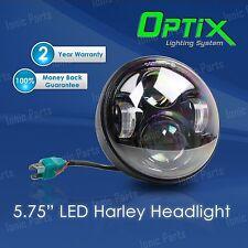 "Optix 5.75 5-3/4"" 40W CREE LED Black Projector Headlight w DRL Harley Davidson"