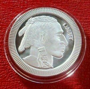 Indian-amp-Buffalo-Art-Round-1-Troy-oz-999-Silver-by-Silvertowne-Mint