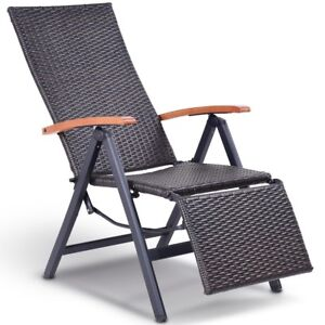 outdoor patio folding wicker rattan aluminum recliner chair stool