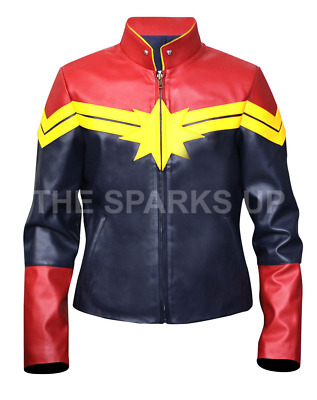 Captain Marvel Carol Danvers Vers Stylish Leather Costume Bomber Jacket SALE ON!