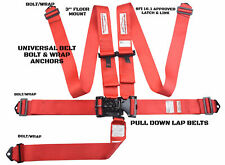 Racing Harness 5 Point Universal Latch Amp Link Seat Belt Red Floor Mount Sfi 161