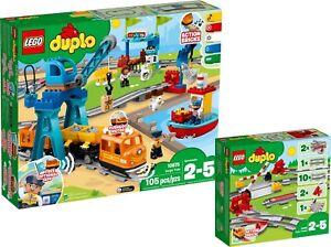 Lego Duplo 10875 10882 Train De Marchandises Cargo Train Chemin De Fer Rails Set N9/18-afficher Le Titre D'origine Bon Pour AntipyréTique Et Sucette De La Gorge