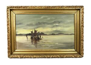 Antique-Oil-Painting-of-Maritime-Harbor-Scene-Boats-Gold-Gesso-Frame