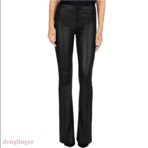 Punk Womens Leather Bell-Bottoms Boot Cut Leisure Pants Legging Trousers Fashion
