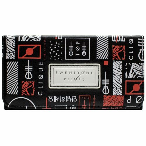 NEW OFFICIAL TWENTY ONE PILOTS SKELETON CLIQUE BLURRYFACE BLACK TRI-FOLD PURSE