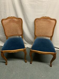 Vintage Pair French Country Solid Oak Cane Back Chairs Ebay