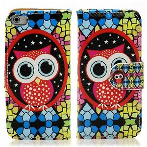 Apple iPhone 5 5S SE Flip Tasche Handy Case Schutz Hülle Cover Mosaik Eule Owl