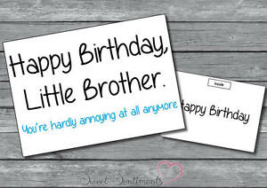 Image Is Loading Personalised Funny Humorous Joke Comedy Little Brother Birthday