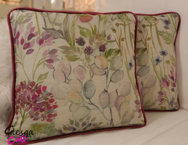 Voyage Hedgerow Linen Velvet Cushion Cover 35x35 Piped floral pink maison style
