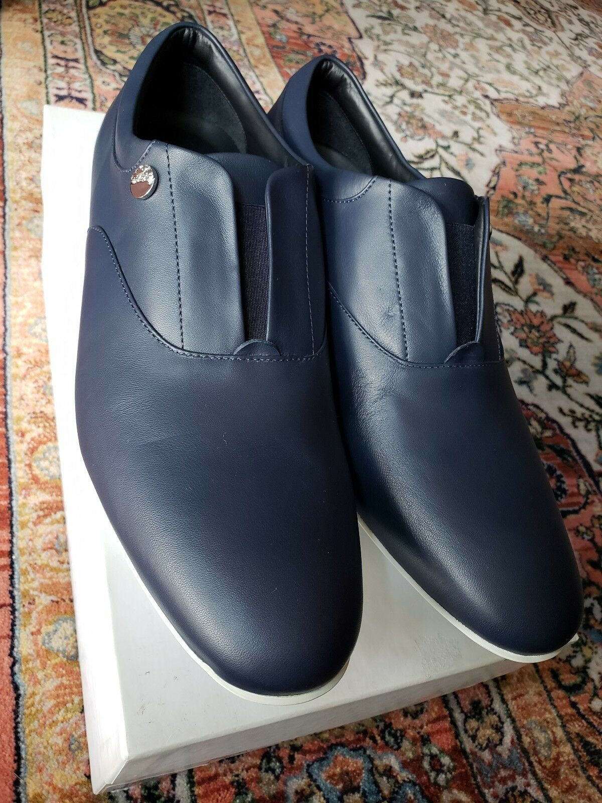 Versace Collection Cadual shoes Driver Loafer Navy bluee ITALY 42 US 9 10 medusa