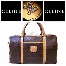 Auth CELINE Macadam Hand Bag Boston Travel Brown Canvas leather