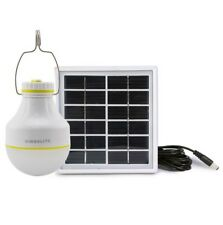 Camping Solar Rechargeable 2W LED Bulb and Solar Panel Charge mobile iPhone NEW