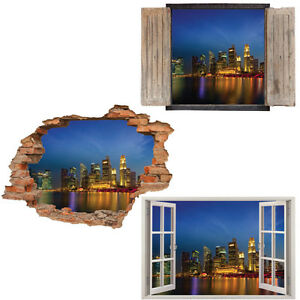Window Wall Sticker Decal Vinyl D Singapore Skyline Cityscape - Window stickers for home singapore