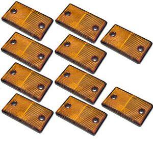 Réflecteur Ambre Rectangulaire Latérale Pack De 10 Remorque Clôture Porte Post Tr068-afficher Le Titre D'origine Performance Fiable