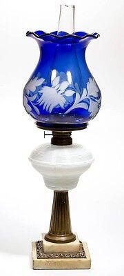 CASED REEDED FONT KEROSENE STAND LAMP Lot 471