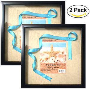 """(2-Pack) 12x12"""" Black Shadow Box Frame with Linen Background with 8 Stick Pins"""