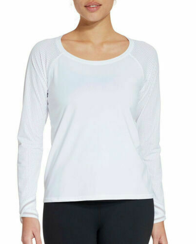 Calia by Carrie Underwood White Move Mesh Sleeves Size S Long Sleeves