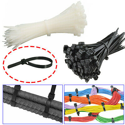 Schwarzes Kabel Binder Plastik Stark Nylon Reißverschluss Elektrisch Wrap Tidy