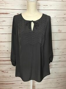 7680d4b502eda NWT A PEA IN THE POD Large Gray Maternity Peasant Blouse 3/4 Sleeve ...