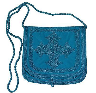 Moroccan Pouch Shoulder Bag Velvet Handmade Embroidered Purse Medium Turquoise