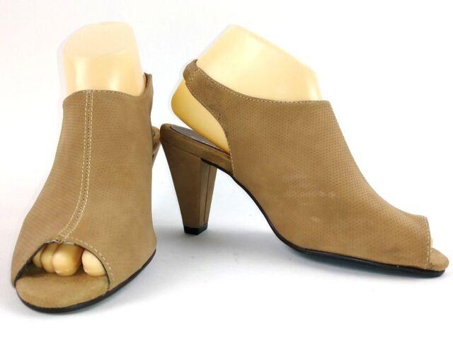 b9fa6504d9 Aerosoles Womens Survivor Mule Heels Size 7 Tan Open Toe Booties | eBay