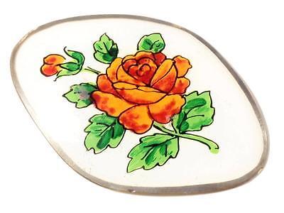 (1) 44mm Czech Nouveau antique reverse hand painted rose flower glass element