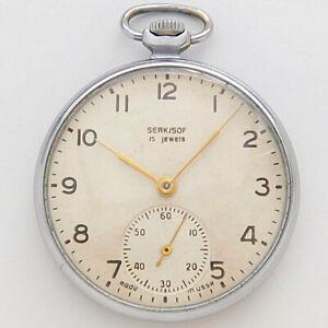 Rare SERKISOF 15 jeweis Molnija Pocket watch made in USSR