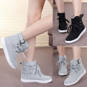 Womens-Fashion-Buckle-Strap-Hiking-Flats-Lace-Up-High-Top-Sports-Sneakers-Shoes