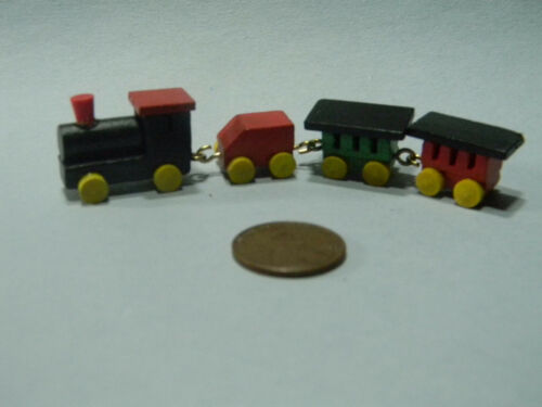 Miniature Wood Train set of 4 painted in 1:12 doll scale