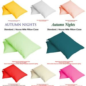 Luxury-Plain-Dyed-Poly-Cotton-Housewife-Single-Pair-Bed-Room-Pillow-Cases-Covers
