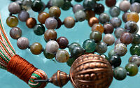 Indian Agate 108 Hand Knotted Mala 8mm Beads Necklace - Attracts Love, Protects
