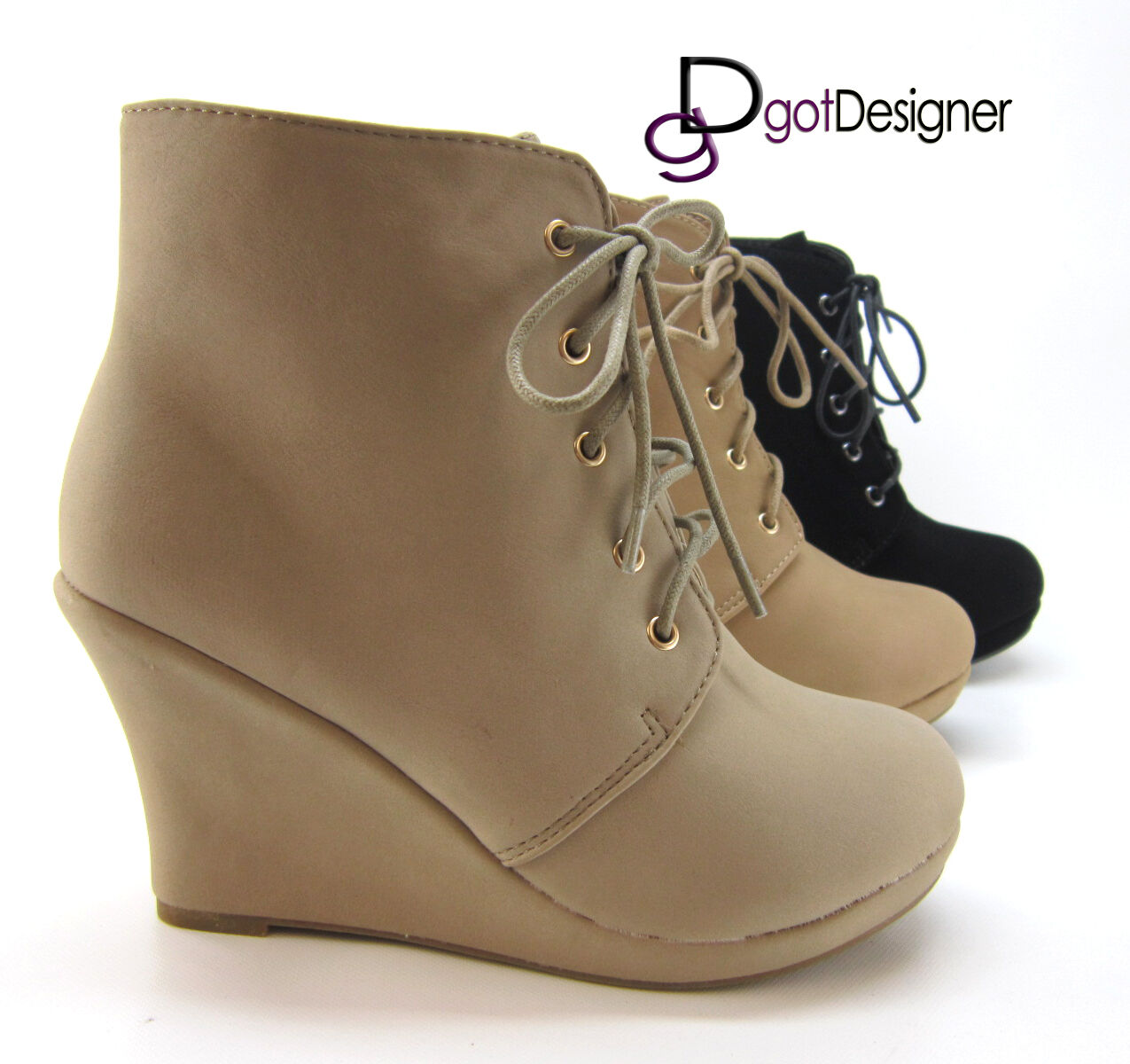 Womens Ankle Boots Bootie Fashion shoes Wedge Pump Lace Up Heels NEW All Sizes