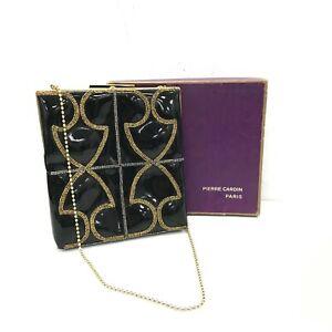 PIERRE-CARDIN-PARIS-Black-Gold-Bag-Women-039-s-Bead-Vintage-Embellished-441122
