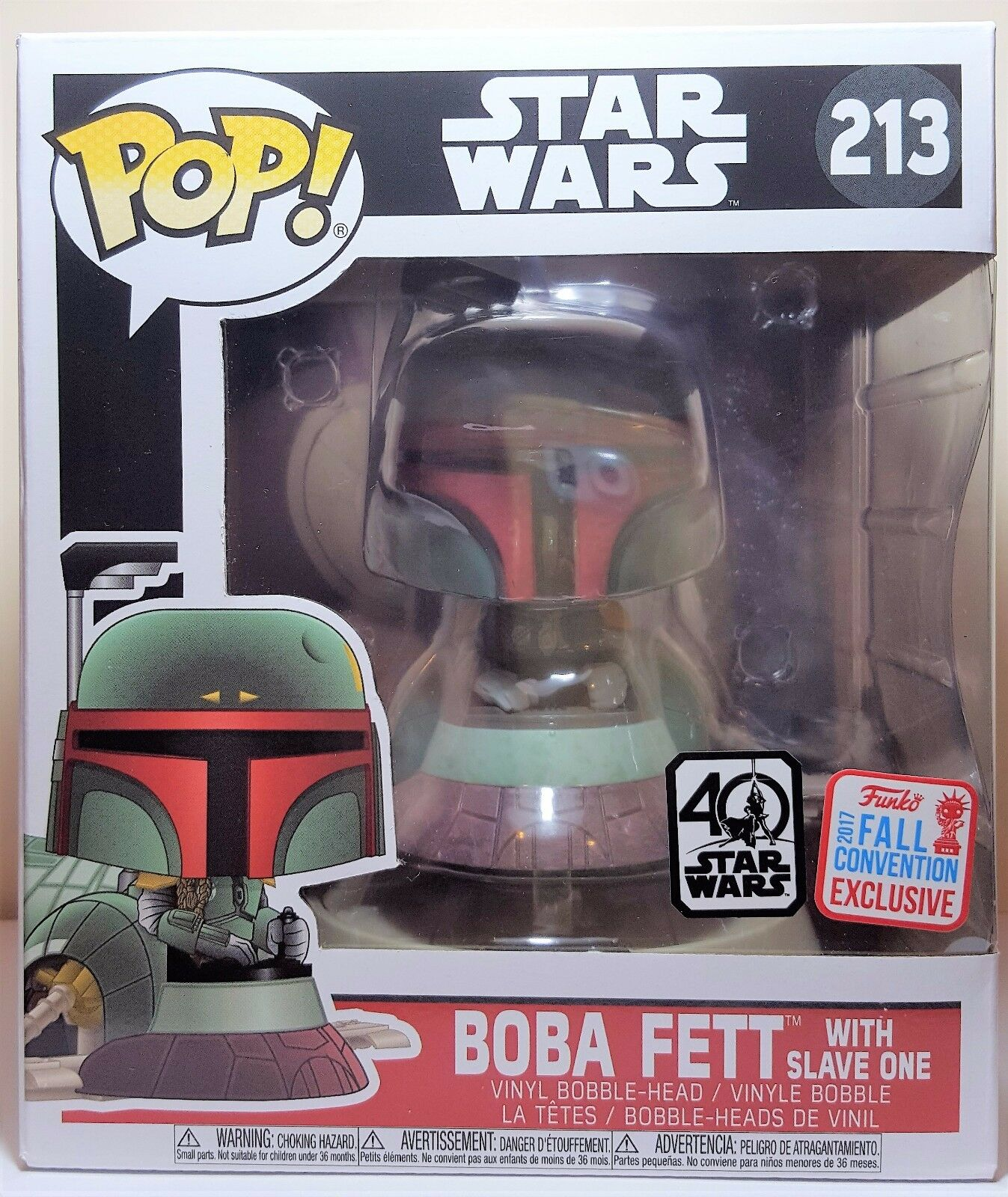Funko Pop Boba Fett with Slave One   213 Star Wars 40th Anniversary Vinyl New