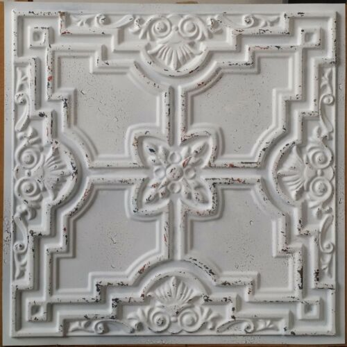 Ceiling tile Faux tin finish distress crack art decor wall panel PL16 10pcslot