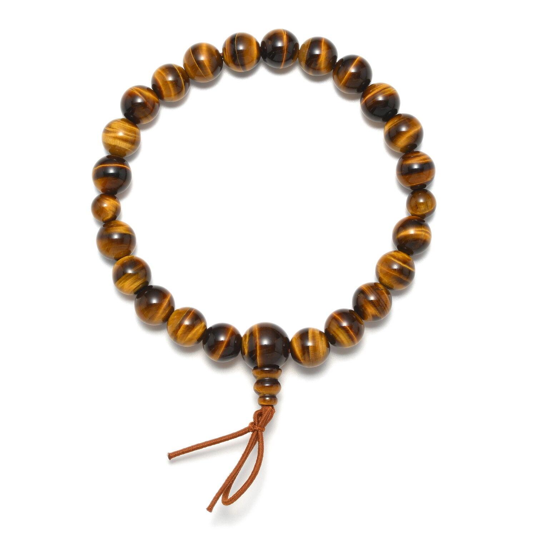 Natural Tiger eye Stone Unisex Mens Bracelet Handmade Japanese Juzu Kyoto