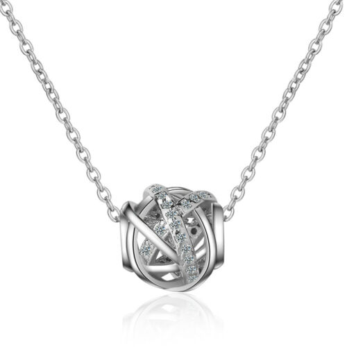 925 Sterling Silver Ball Twisted Crystal Pendant Chain Necklace Womens Jewellery