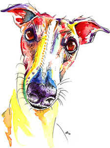 Image Is Loading Greyhound Art Print Painting Poster Wall Picture