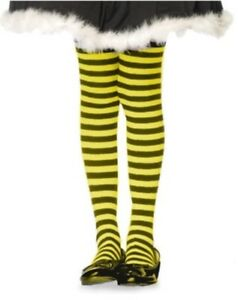 aae0ccdd20f Plus Size Opaque Black   Yellow Fairy Striped Tights 4711168747183 ...