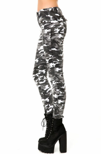 Rocker Oi Moto Hvid Biker Skinny Is9855p Army Tripp Bukser Camouflage Jeans Punk cSBg8