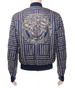 f62463ade NEW VERSACE BLUE GOLD MEDUSA PRINT QUILTED 100% SILK JACKET 50 - 40 ...